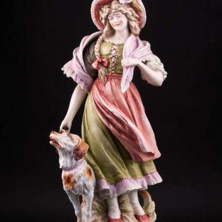 Фарфорвая статуэтка Девушка с собакой, Германия, 19 в.
