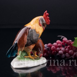 Фарфорвая статуэтка птиц Петух и курица, Metzler & Ortloff, Германия, до 1972 г.