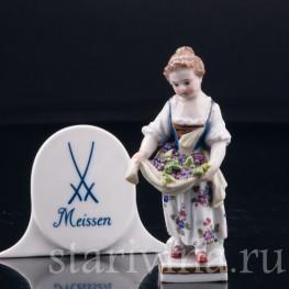 Девочка с виноградом в подоле, миниатюра, Meissen, Германия, 19 в