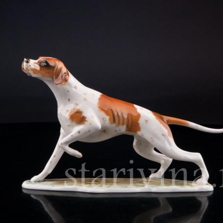 Фигурка собаки из фарфора Гончая, Alka Kaiser, Германия, до 1990 г.
