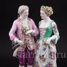 Антикварная фарфоровая статуэтка Жених и невеста, Meissen, Германия, кон. 19 - нач. 20 вв.
