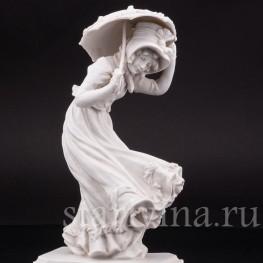 Фарфоровая статуэтка Девушка с зонтиком, аллегория Осени Karl Ens, Германия, 1900 гг.