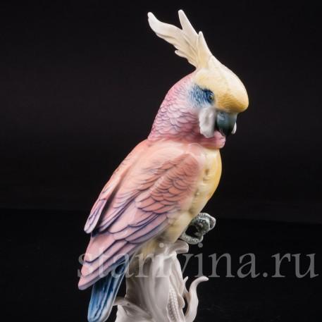 Статуэтка птицы из фарфора Попугай какаду на кукурузе, Karl Ens, Германия, 1920-30 гг.