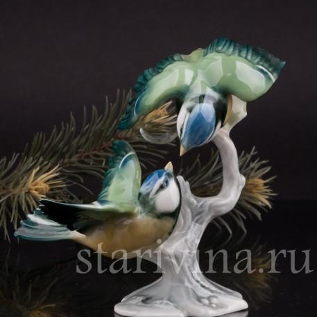 Фарфоровая статуэтка птиц Две лазоревки, Alka Kaiser, Германия, вт пол. 20 века.