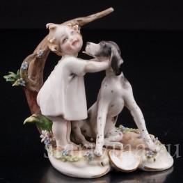 Фарфоровая фигурка Малыш с собакой, миниатюра, Capodimonte, Италия, вт пол. 20 века.