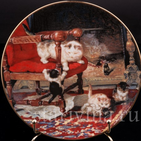Декоративная фарфоровая тарелка Игривые малыши, W. J. George, Великобритания, 1991 г.